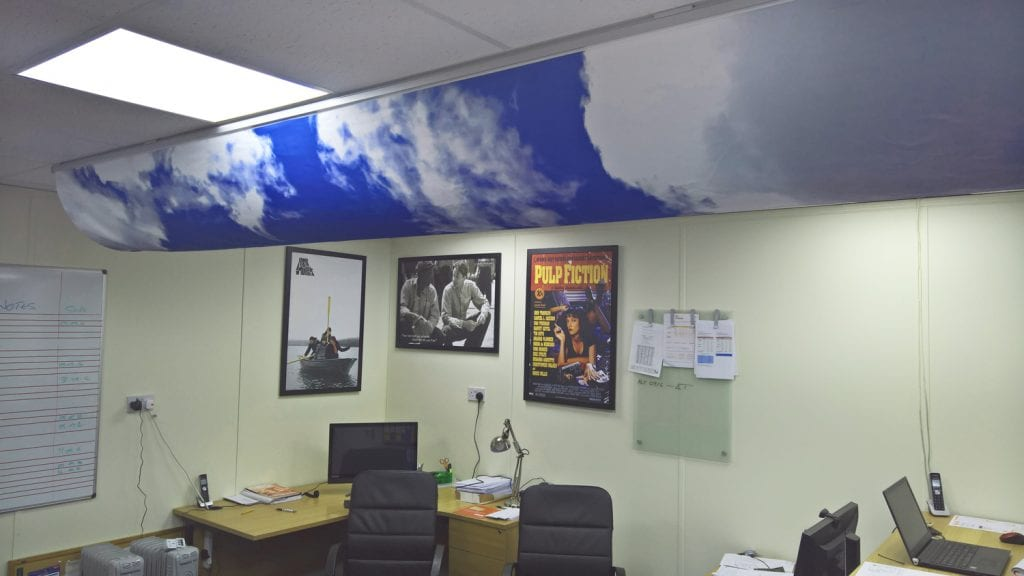 prihoda printing showing blue sky with clouds