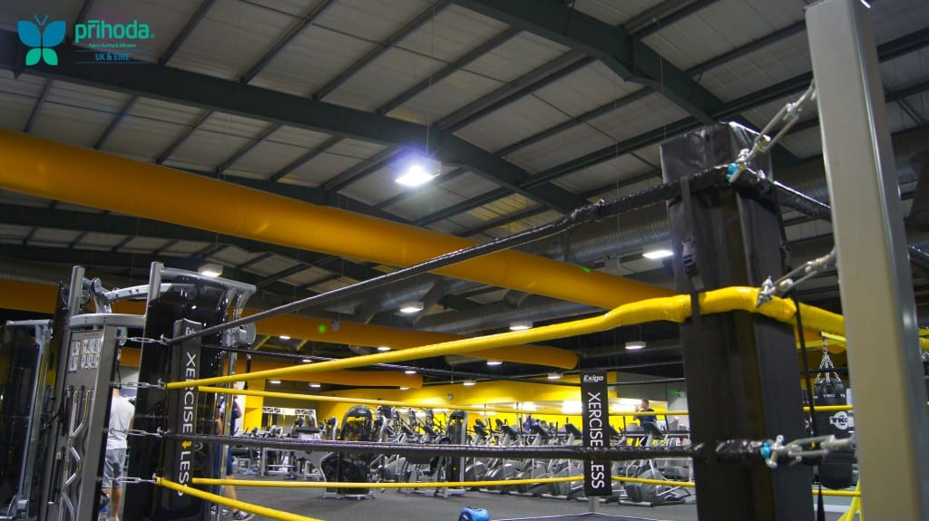 yellow fabric ducting in a gym