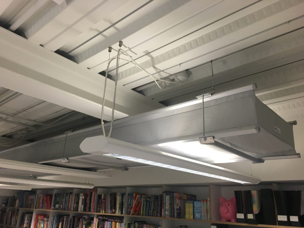fabric ducting above book case