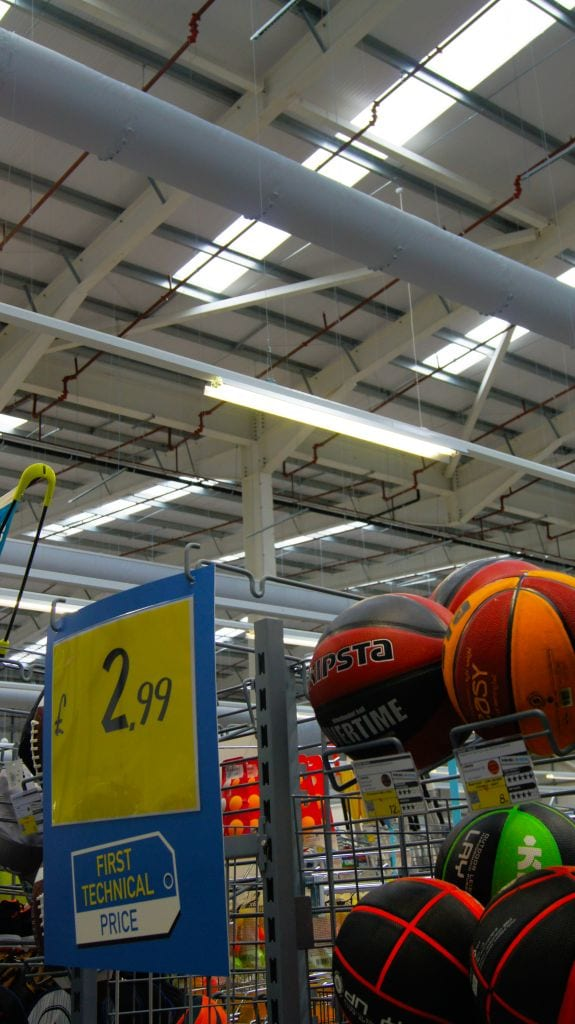 fabric ducting at retail decathlon store