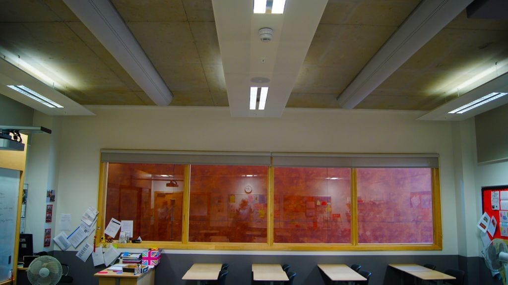 classroom with ducting