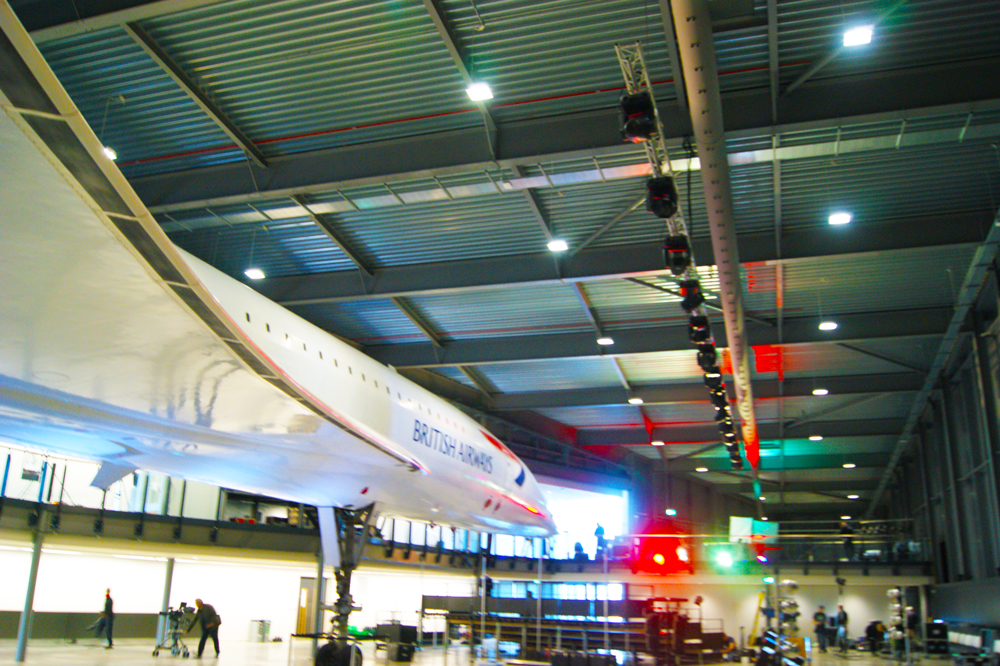 view of Concorde with ducting and air diffusers on right hand side