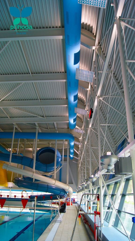 textile duct at indoor swimming pool