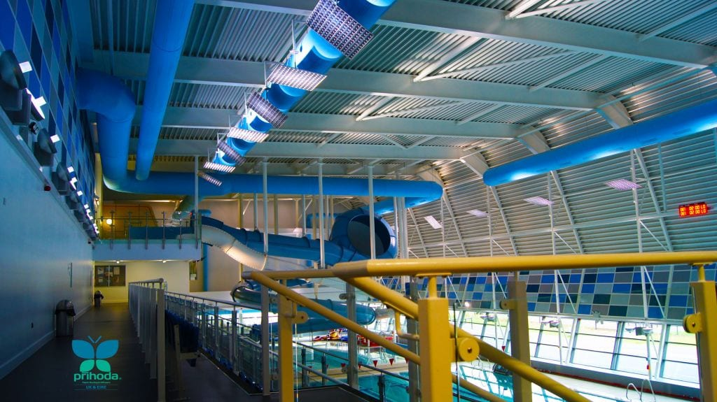 fabric duct sock above swimming pool