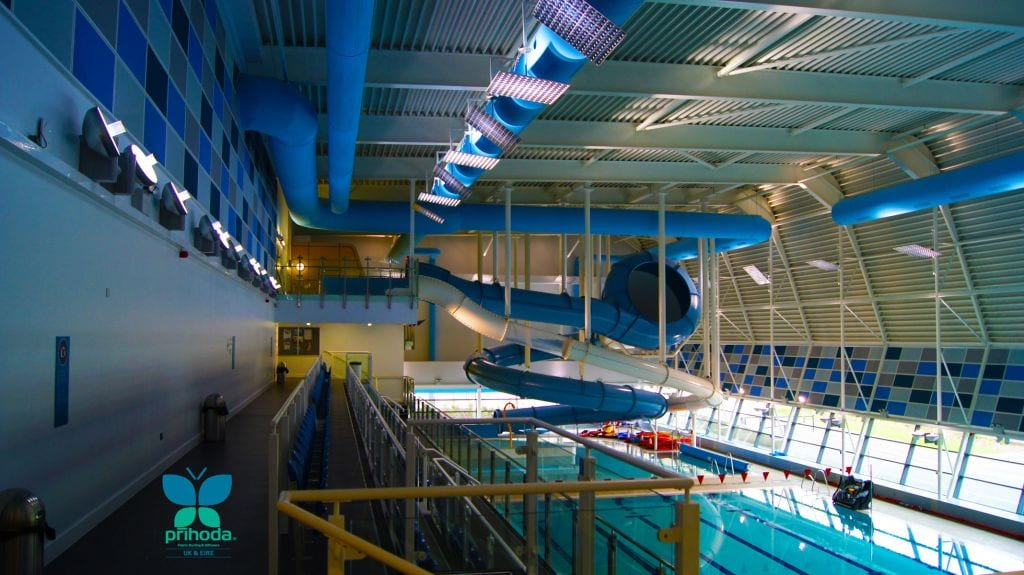 fabric air duct at indoor swimming pool