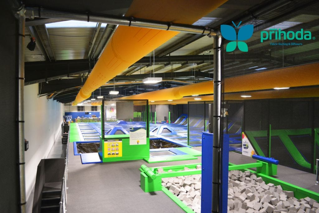 air sock duct at indoor trampoline play park