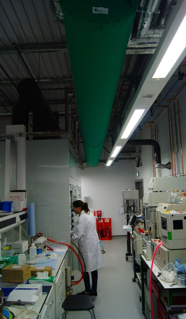 green fabric duct in chemistry lab at university of york