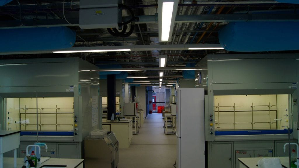 multiple fabric ducts looking across laboratory at university of york