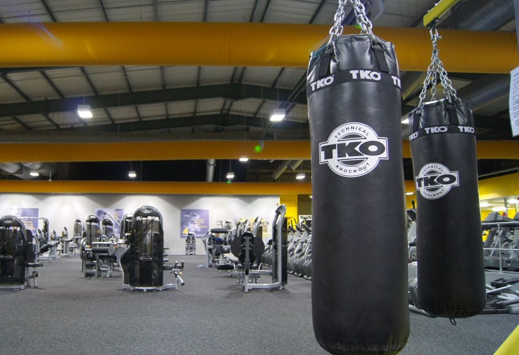 air duct sock at gym showing equipment and punchbags