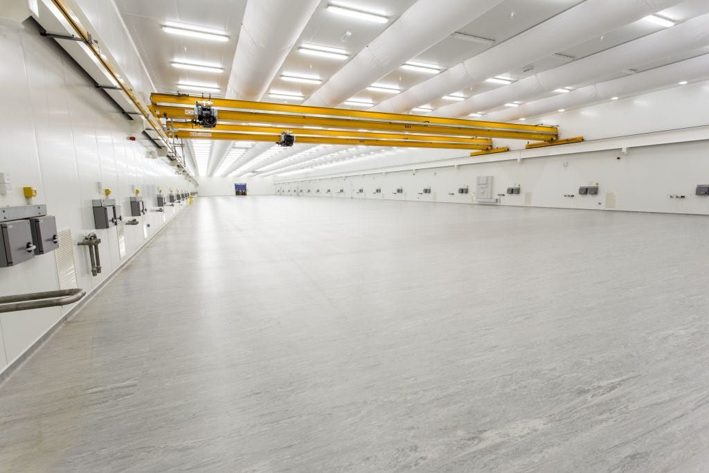 yellow ducting in cleanroom