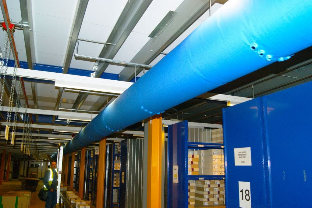 blue fabric ducting