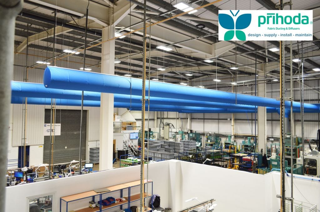 large fabric ducts in a warehouse