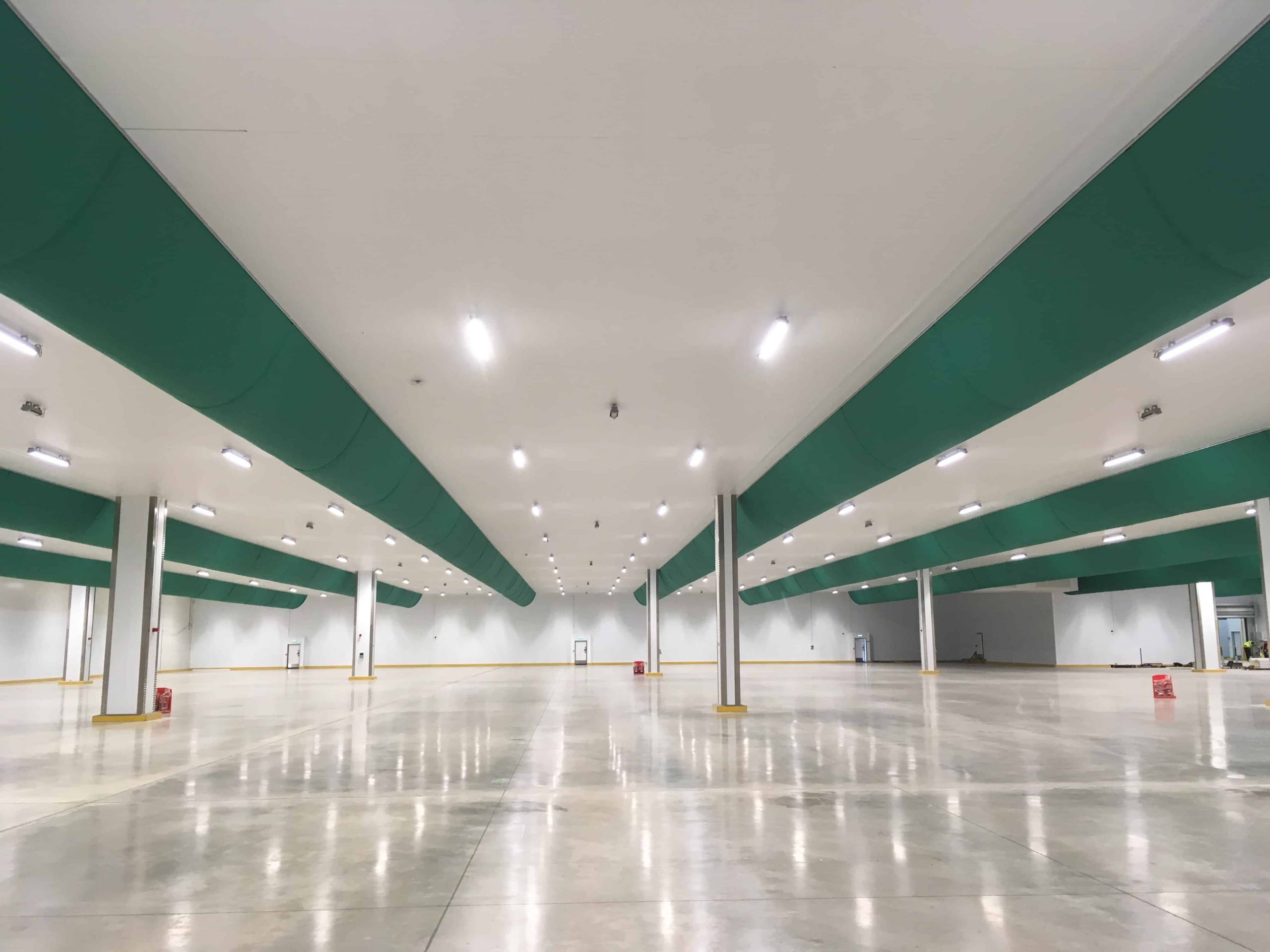 food factory installation showing advantages of fabric ventilation