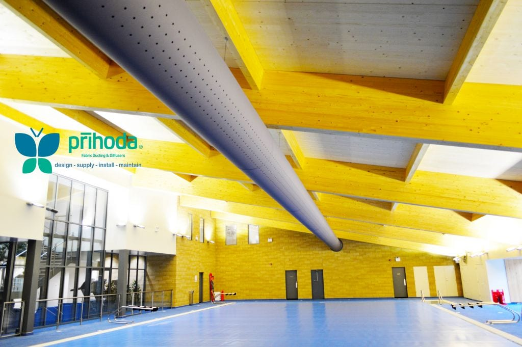 sports hall fabric ducting