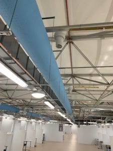 Jersey Nightingale Hospital ward with fabric ducts