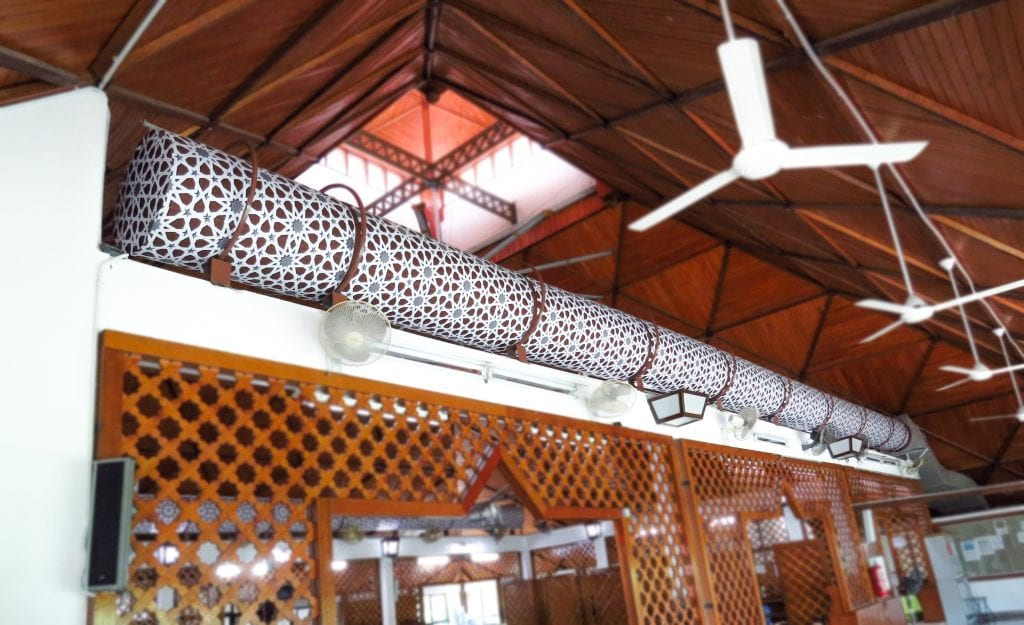 Prihoda Art printed exposed textile ducts.