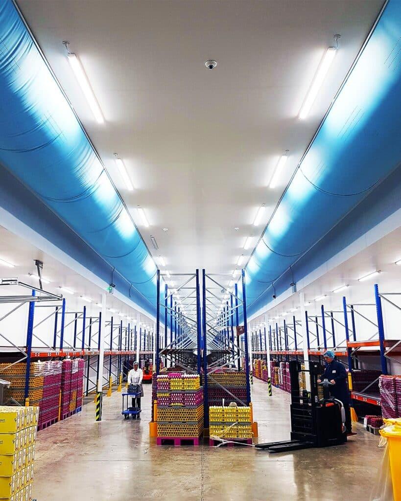 Prihoda blue air socks in food storage facility
