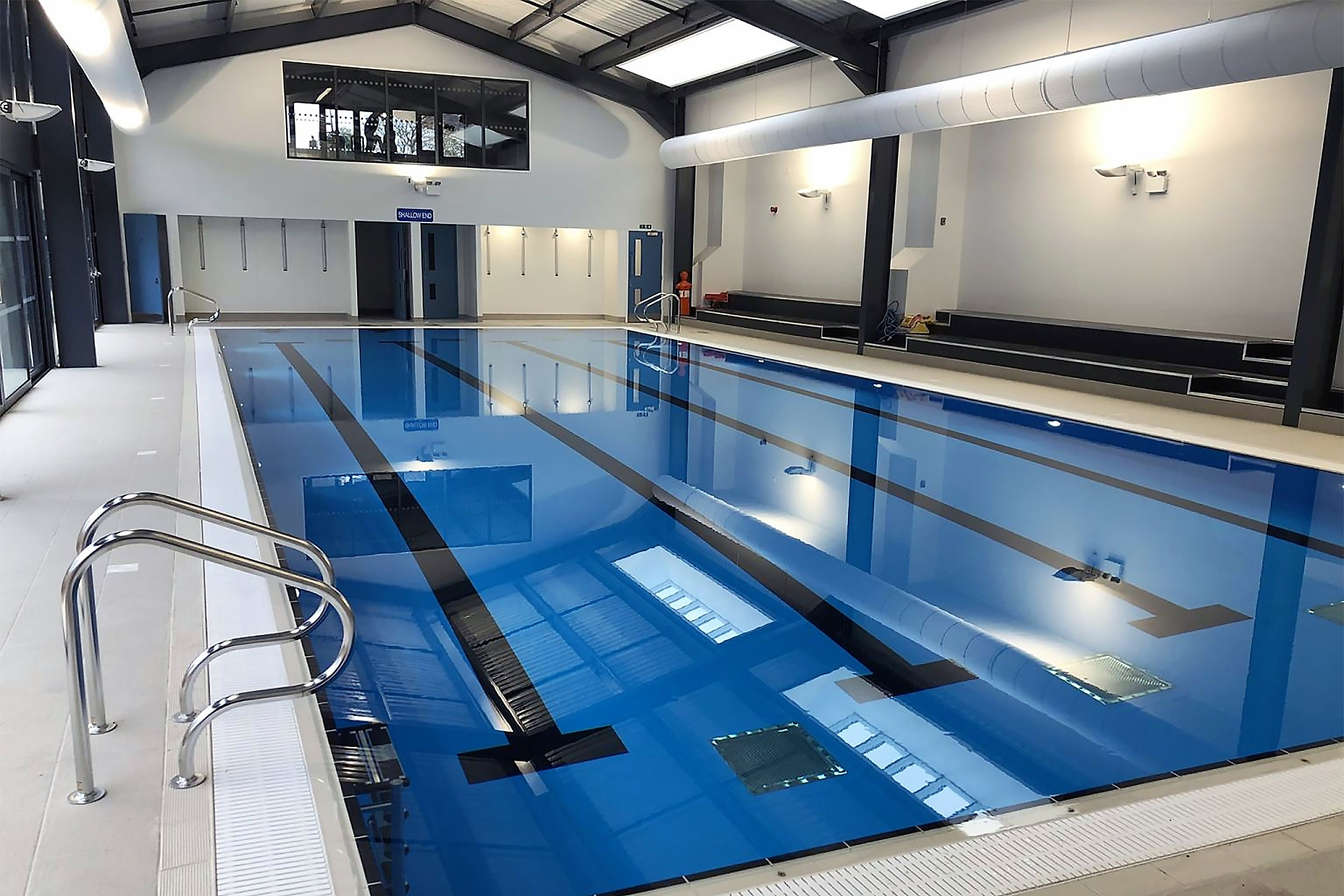 The swimming pool at St Hugh's school with Prihoda fabric diffusers