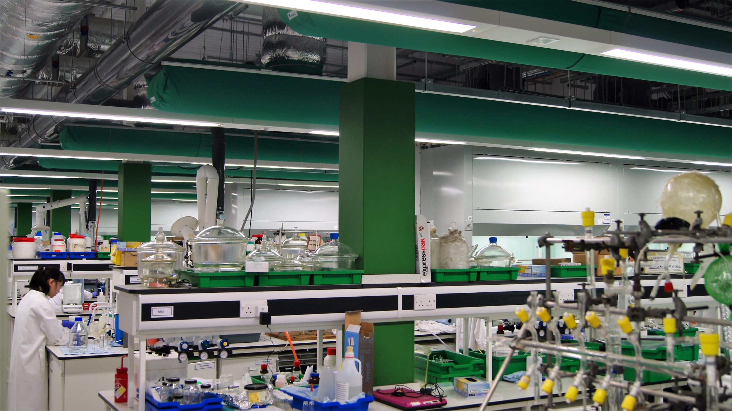 Green fabric ducts in a University of York laboratory
